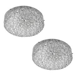 Pair of Large Murano Glass Flush Mount Lamps Modernist Chrome Sconces