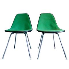 Fibreglass and Fabric Upholstered Side Chairs by Charles Eames for Herman Miller