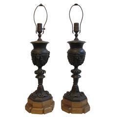 Pair of Bronze Newel Post Urn Lamps