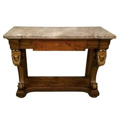 19th Century French Empire Carved Rosewood Console Table