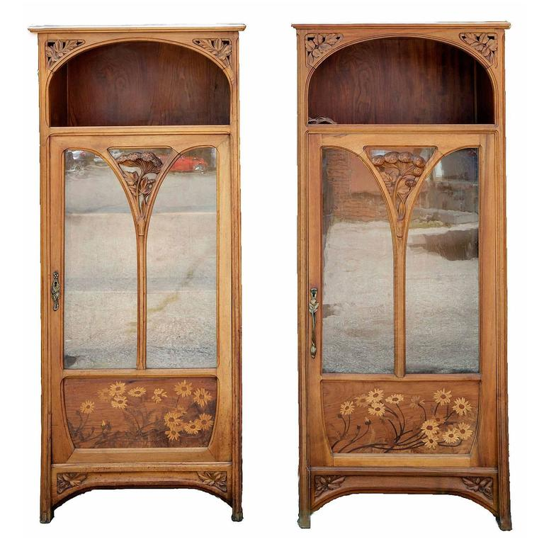 Pair Of Art Nouveau Glass Front Bookcases At 1stdibs