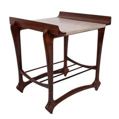 Giuseppe Scapinelli Marble Top Side Table with Magazine Rack