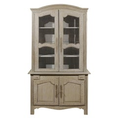 French Painted Wood Buffet à Deux-Corps with Chicken Wire Doors, circa 1750