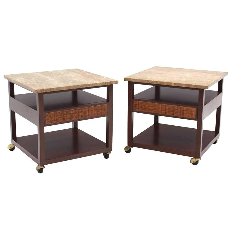 Pair of Marble-Top Single Drawer End Table by Harvey Probber