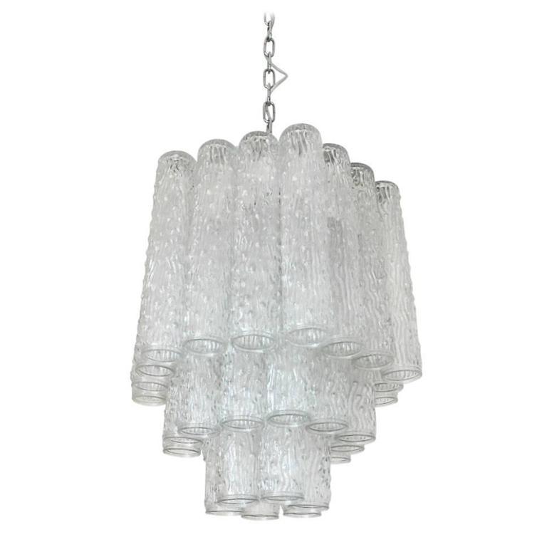Italian Murano Corteccia Glass Tubes Chandelier by Venini