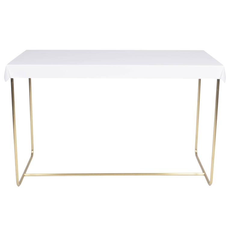 Drape Brass Desk in White For Sale