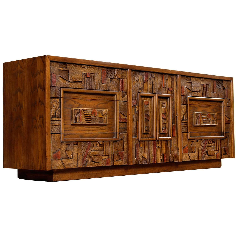 Restored Mid Century Lane Brutalist Triple Dresser At 1stdibs