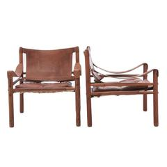 Pair of Arne Norell Safari Sirocco Chairs in Rosewood and Brown Leather