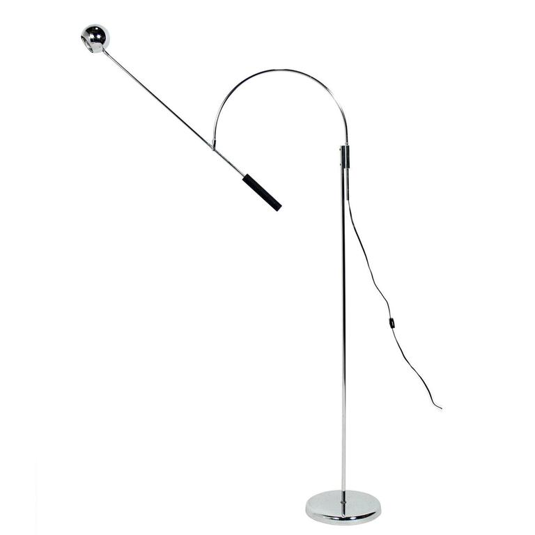 Chrome Orbit Floor Lamp by Robert Sonneman
