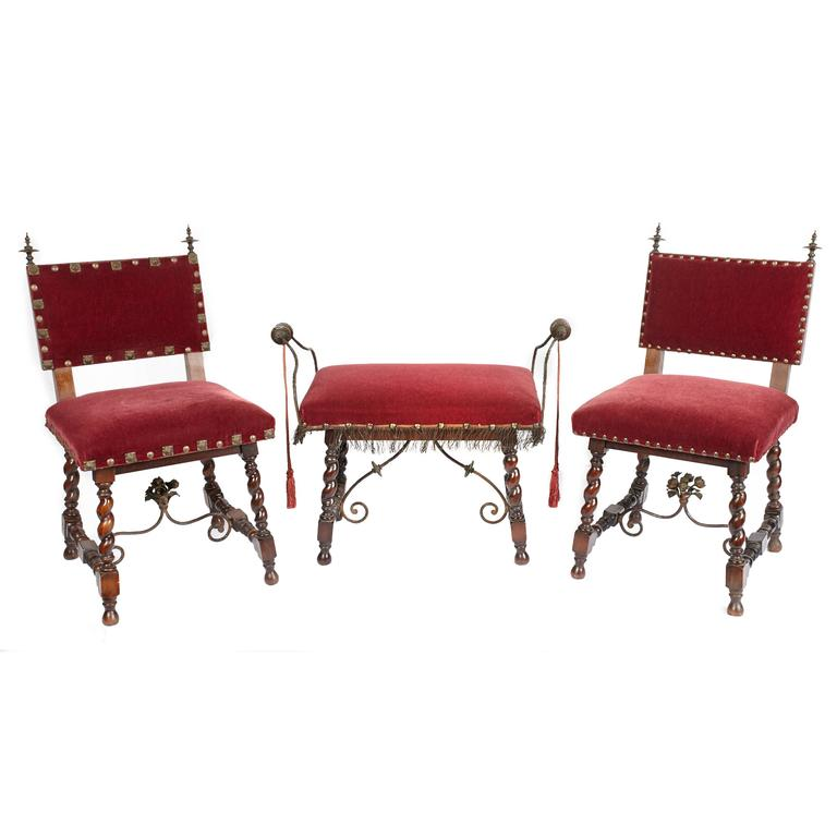 Pair of Spanish Revival Chairs with Matching Bench