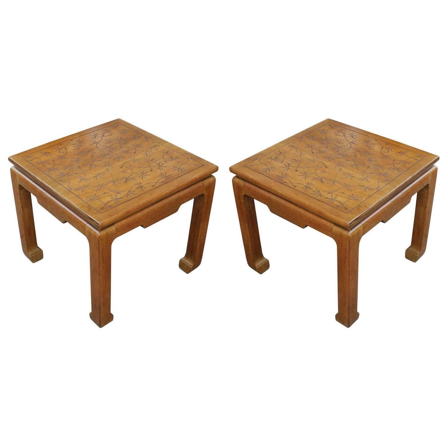 Fabulous Pair of Incised Modern Side Tables by Kittinger with
