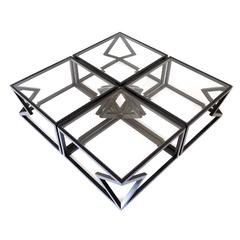 "Contemporary Steel ""Quad Diamonds"" Cocktail Table by Alex Drew & No One 2015"