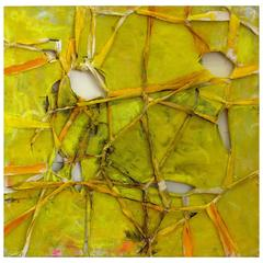 "Contemporary ""Pierre (Yellow #1)"" Dimensional Abstract Art by Alfredo Ulloa"