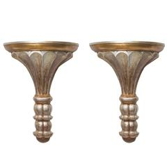 Pair of Silver and Gold Leaf Neoclassical Style Wall Brackets