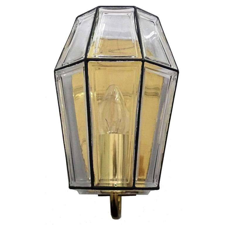 Large Mid Century Modern Limburg Glass and Brass Sconce,  1960s