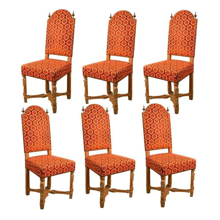Set of Six 1940 Art Deco Whiten Oak Chairs