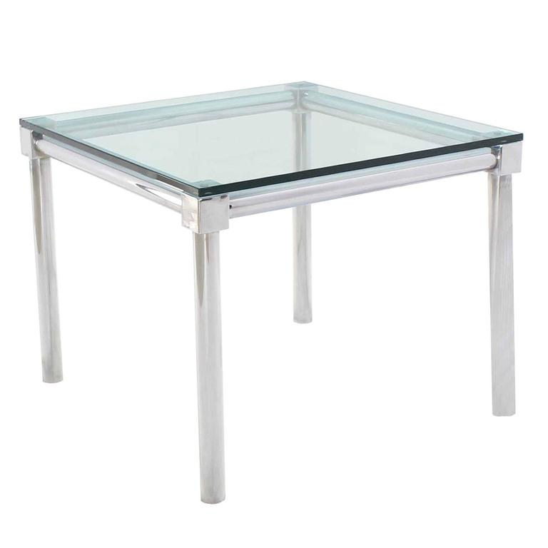 Charmant Chrome And Thick Glass Top Square Game Table For Sale