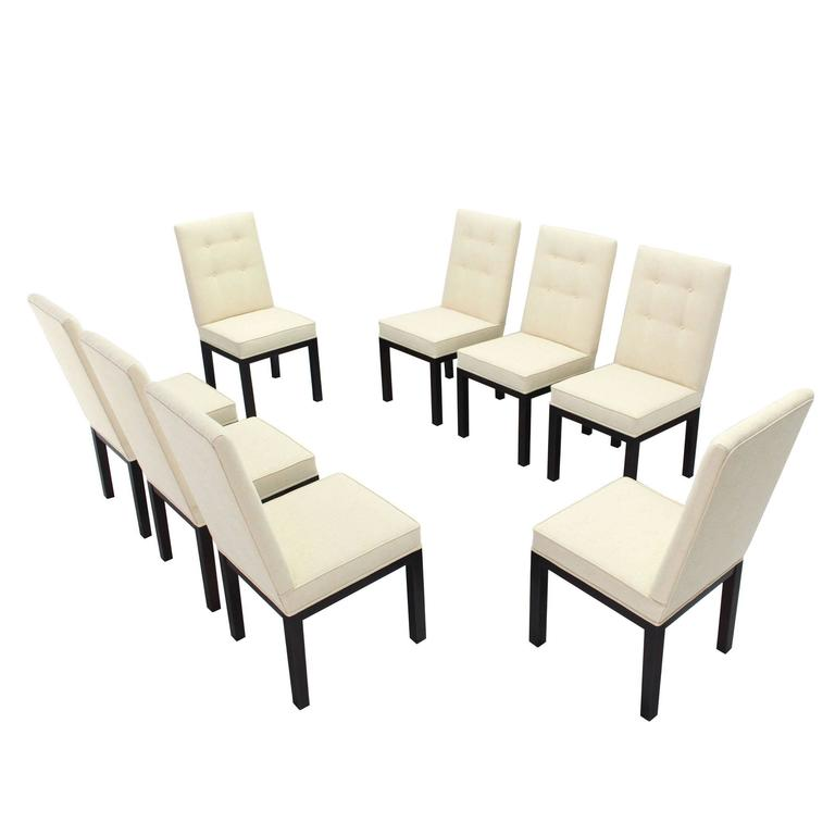 Set of Eight Newly Upholstered Dining Chairs by John Widdicomb