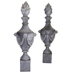 Exuberantly Scaled Pair of French Tin Ornamental Flaming Urn Garden Finials