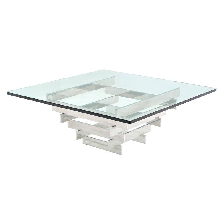 Square Thick Glass Top Stainless Pyramid Shape Base Coffee Table
