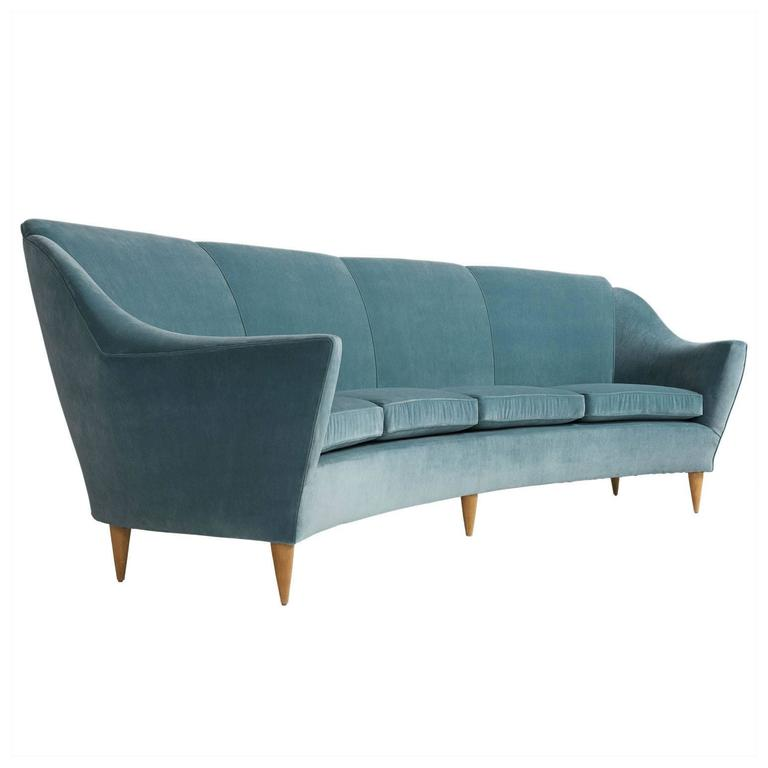 Velvet and Wood Curved Modern Sofa, circa 1960 For Sale
