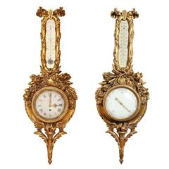 Pair of French 19th Century Carved Wood Barometer and Clock