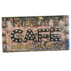 1930s Frenchy's Cafe Sign with Marquee Bulbs, Perfect Patina