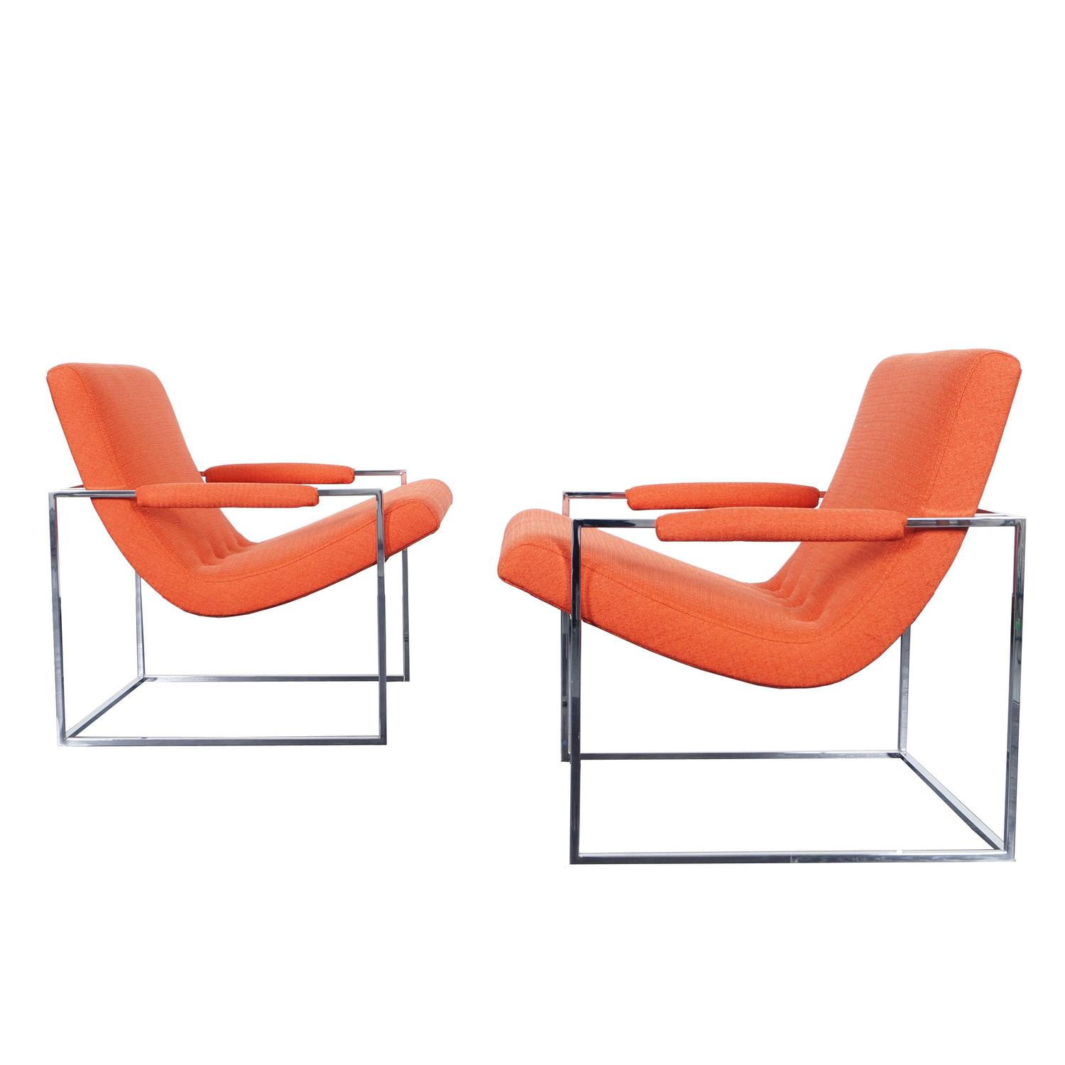 Vintage Chrome Lounge Chairs by Milo Baughman For Sale at