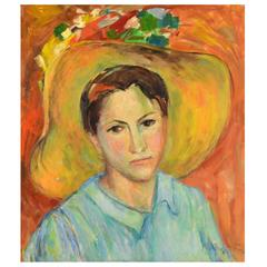 ''The Summer Hat' Lovely Work by Noted Monhegan Island Artist Yolanda Fusco