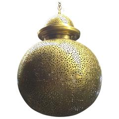 Large Brass Moroccan Globe Chandelier