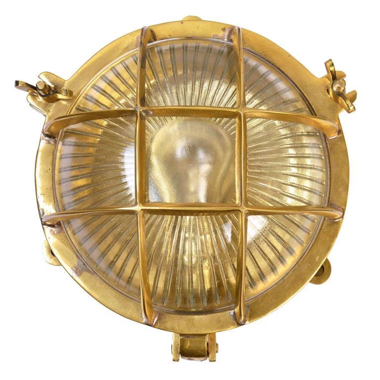 Cast Brass Nautical Flush Mount Porthole Sconce With