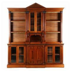Exceptional Irish Chippendale Walnut Breakfront Bookcase, Strahan & Co.