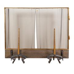 Donald Deskey Fireplace Screen & Andirons in Brass and Wrought Iron for Bennett