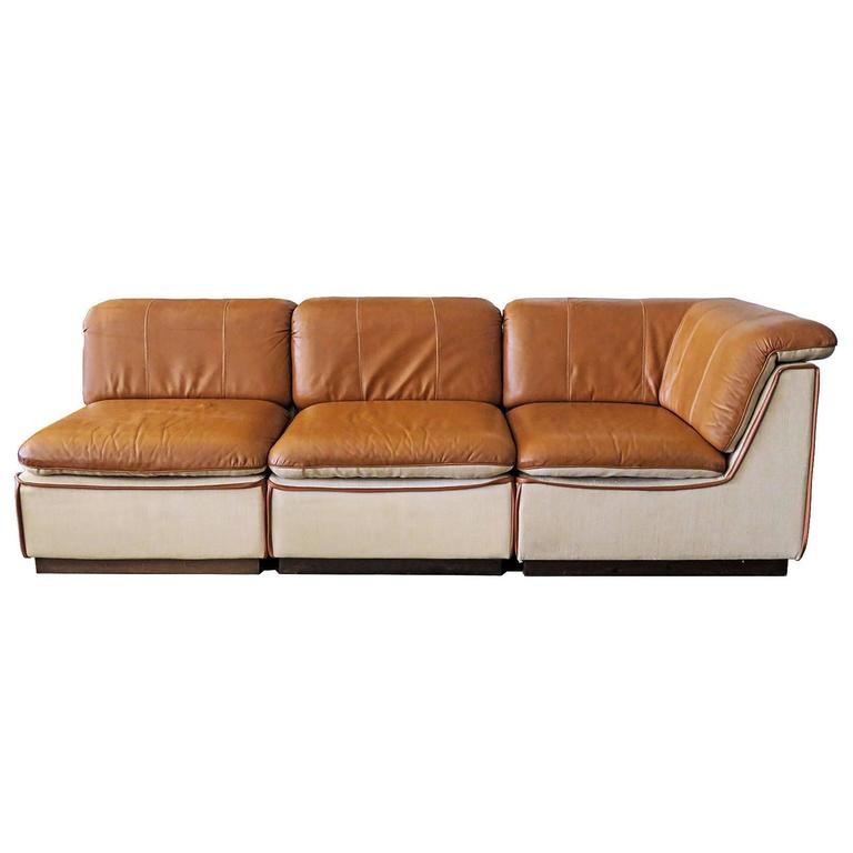 Finnish Modular Leather Sofa For Sale