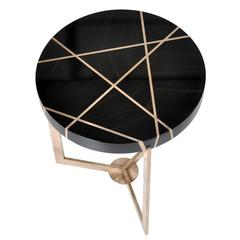 Ray End Table in Bronze and Genuine Gabon Ebony by Newell Design