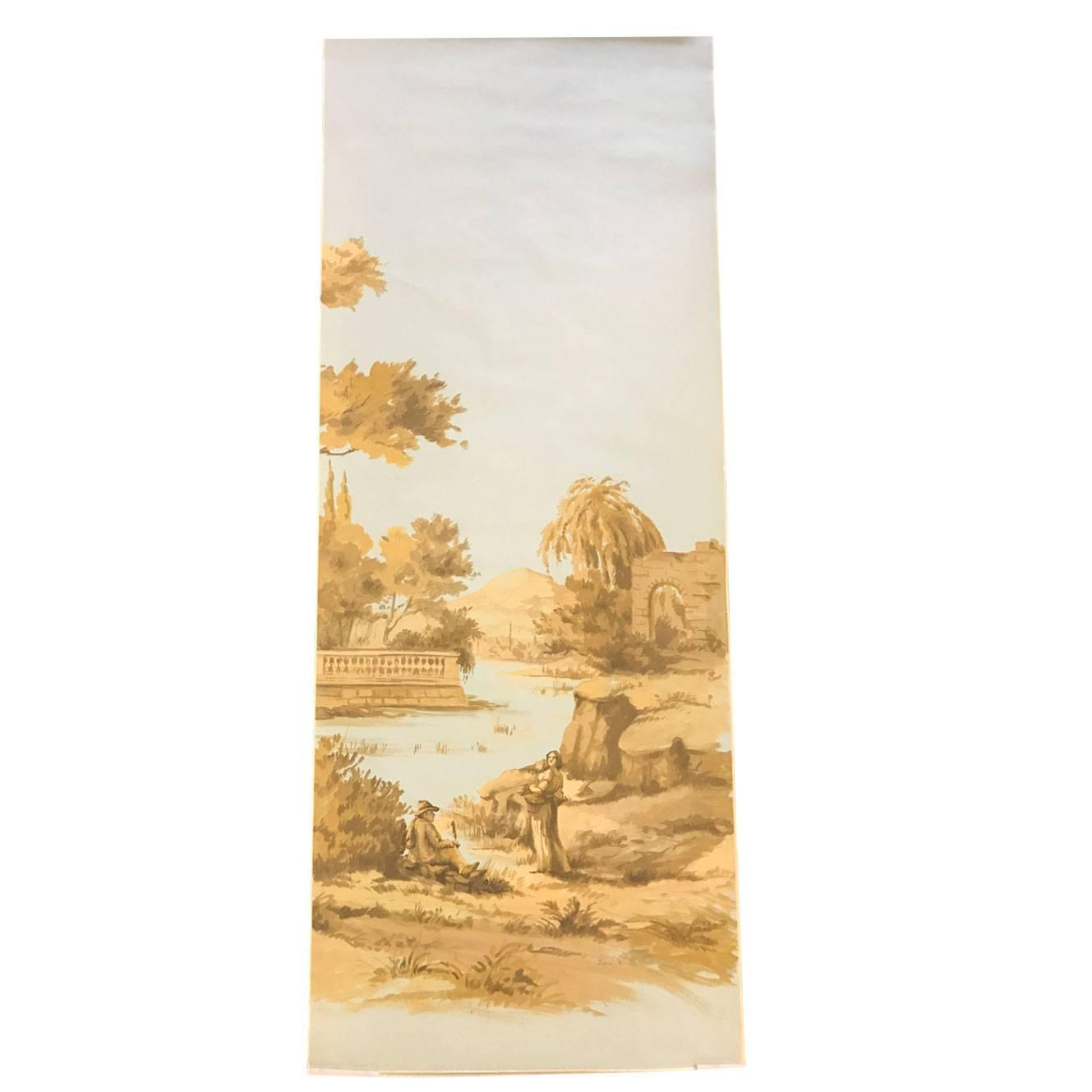 Hand painted gracie wallpaper panels french toile for Wallpaper sheets for sale