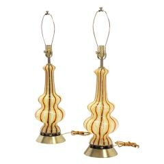 Pair of Decorative Murano Style Blown Glass Table Lamps