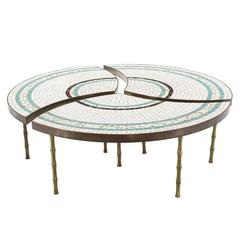Three-Part Bronze and Mosaic Round Coffee Table