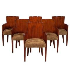 Set of Six Modern Hollywood Art Deco Dining Chairs