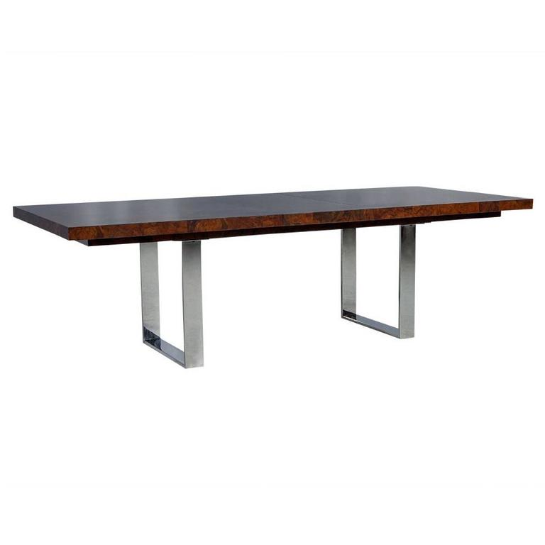 modern burled walnut and stainless steel dining table for