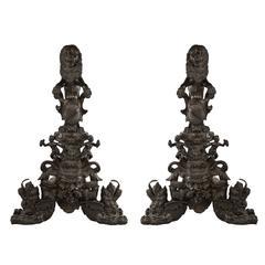 Pair of Bronze Heraldry Andirons