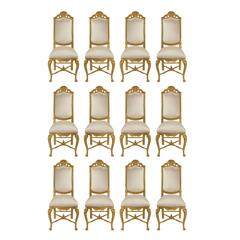 Complete Set of 12 19th Century Louis XV Style Giltwood Dining Chairs