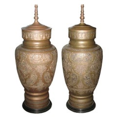 Pair of Brass Sterling Copper Metal Middle Eastern Lamps