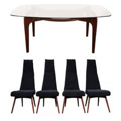 Andrian Pearsall Dining Table with Four Chairs