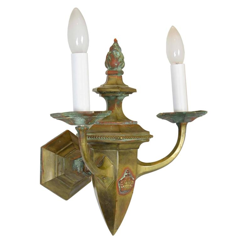 Brass Wall Sconces Electric : Wonderful Early 20th Century Brass Gas/Electric Colonial Sconce at 1stdibs