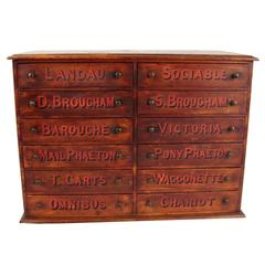 Rare English Beechwood 12 Drawer Chest for Carriage Parts
