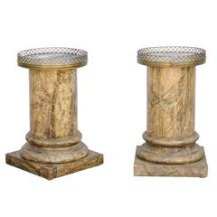 Pair of French Drinks Tables Made of Faux Marble Columns with Marble Tops