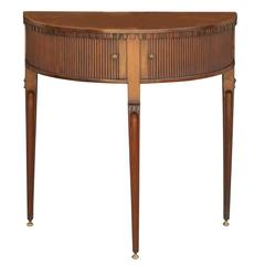 English Mahogany Neoclassical Demi-lune Console Table with Tambour Sliding Doors