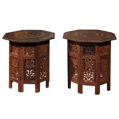Syrian Octagonal Hand-Carved Drinks Tables with Bone and Brass Inlay, circa 1920