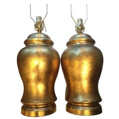 Pair of Jar Shaped Gilt Metal Table Lamps